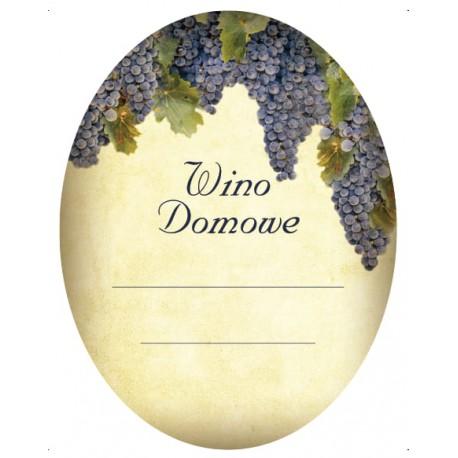 Etykiety na wino domowe czerwone - winogrono owalna